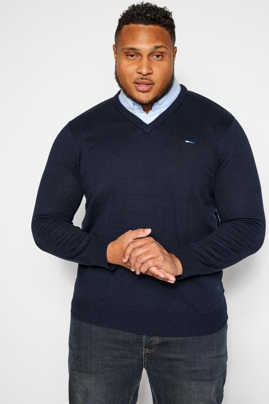 Plus Size Jumpers BadRhino Navy Mock Shirt Jumper