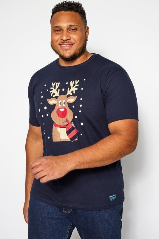 Plus Size T-Shirts BadRhino Navy Novelty Reindeer Print T-Shirt