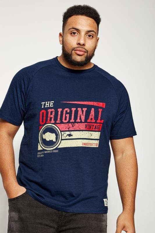 BadRhino Navy Original Vintage Logo Slub Cotton T-Shirt