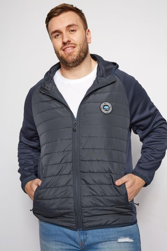 Plus Size Jackets BadRhino Navy Padded Sports Jacket