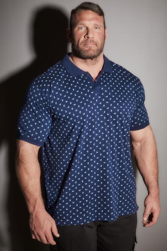 BadRhino Navy Paisley Print Polo Shirt