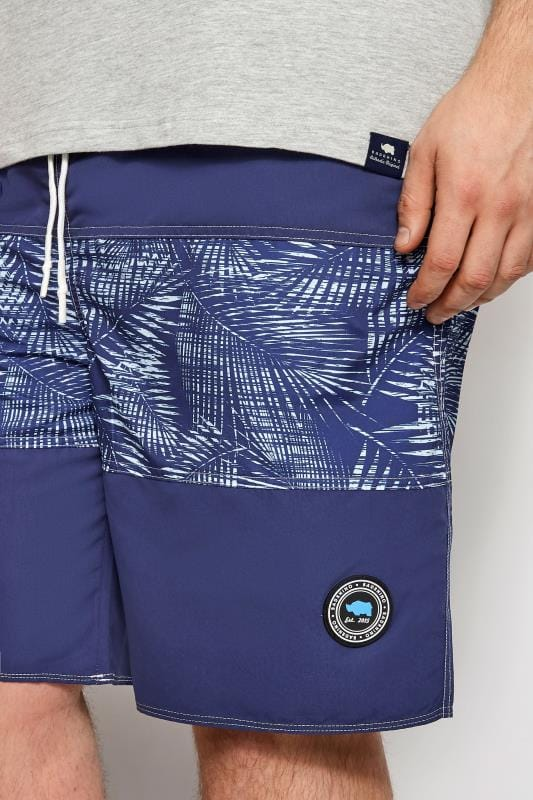 BadRhino Navy Palm Leaf Board Swim Shorts