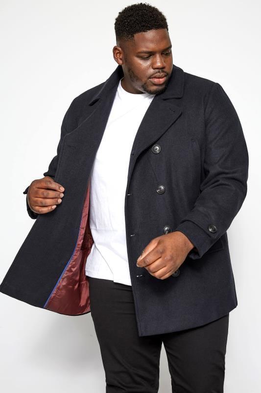 Große Größen Coats BadRhino Navy Pea Coat