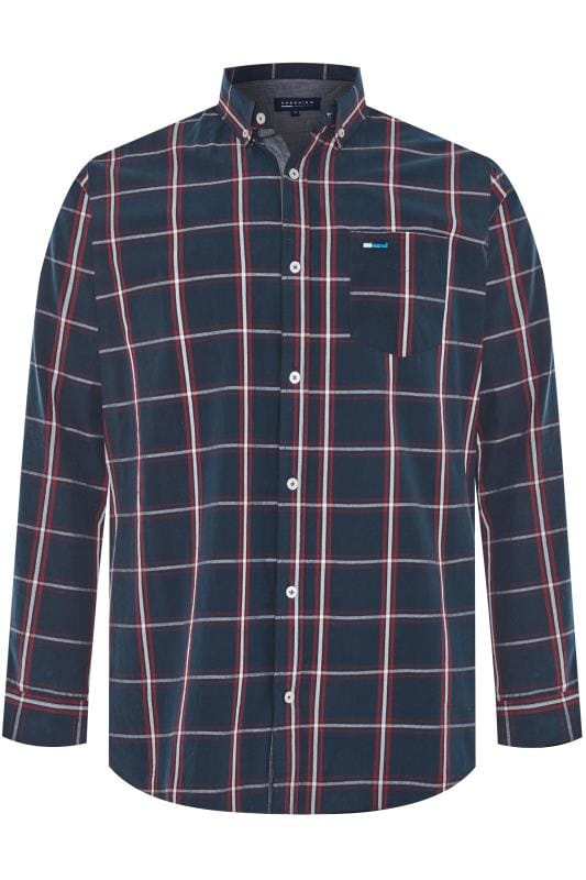 Men's Casual Shirts BadRhino Navy Peached Large Check Shirt