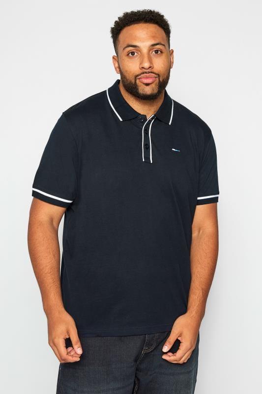 Plus Size Polo Shirts BadRhino Navy Piped Polo Shirt