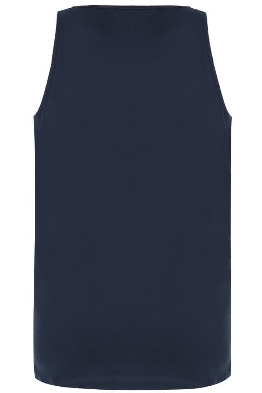 BadRhino Navy Plain Crew Neck Cotton Vest