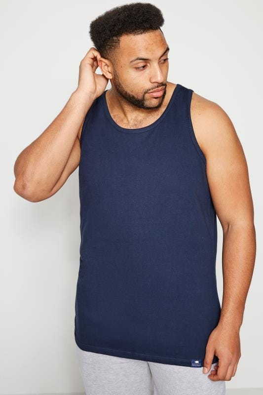 Plus Size Vests BadRhino Navy Plain Crew Neck Cotton Vest