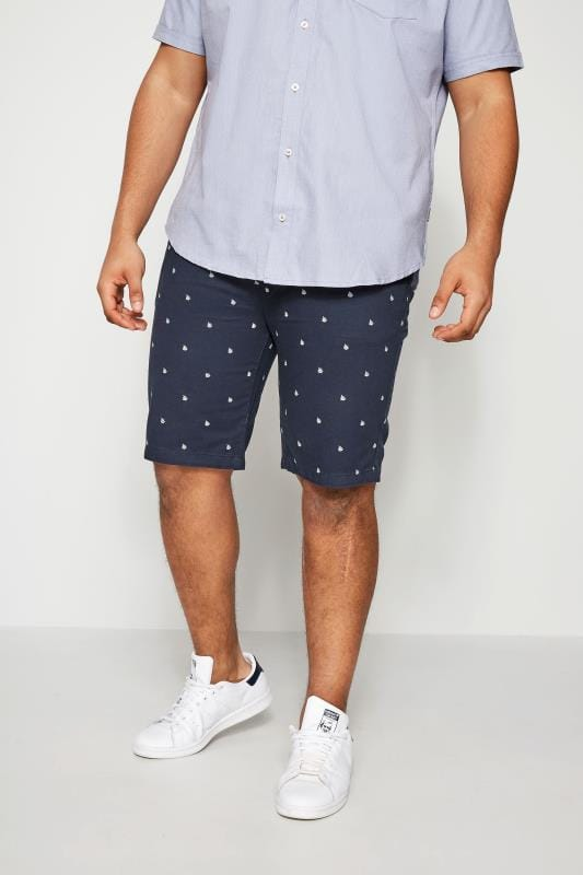 BadRhino Navy Printed Chino Shorts
