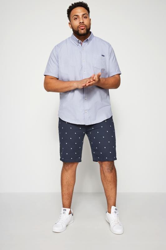 BadRhino Navy Printed Chino Shorts