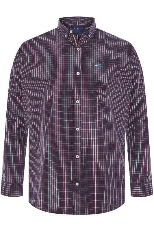 Men's Smart Shirts BadRhino Navy & Red Small Check Long Sleeved Shirt