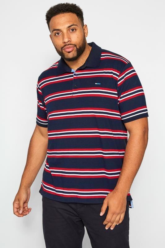 Polo Shirts BadRhino Navy & Red Striped Polo Shirt 201191