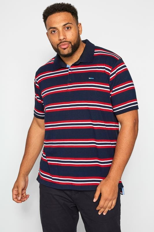 BadRhino Navy & Red Striped Polo Shirt
