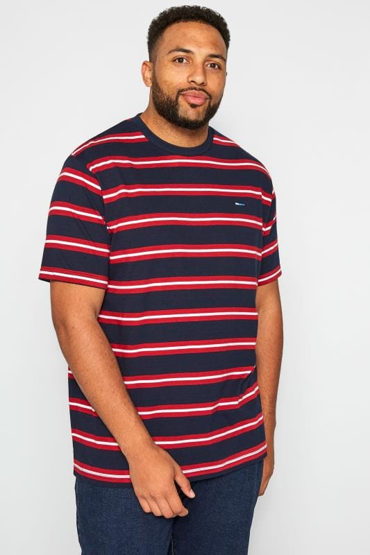 T-Shirts BadRhino Navy & Red Striped T-Shirt 201109
