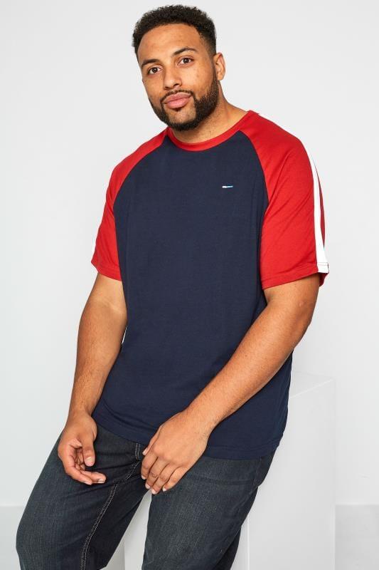 Plus Size T-Shirts BadRhino Navy & Red T-Shirt