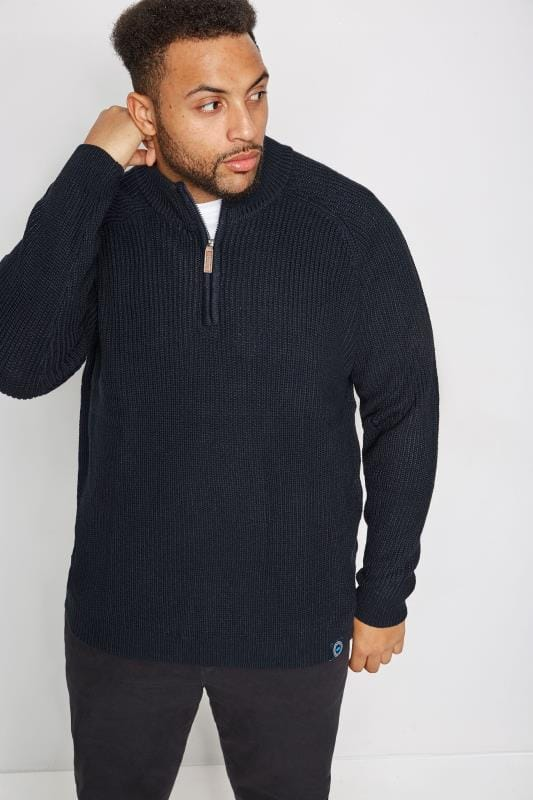 BadRhino Navy Rib Knit Funnel Neck Jumper With Zip Front