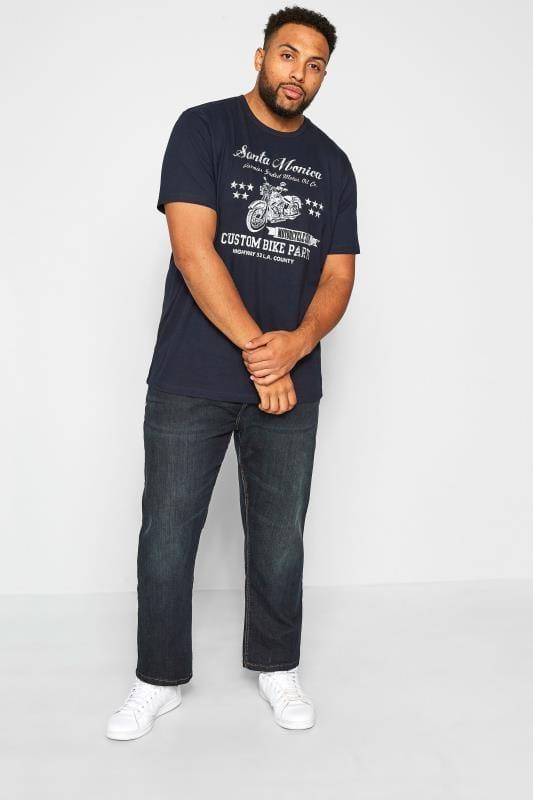 """BadRhino T-Shirt mit """"Santa Monica"""" Schriftzug - Blau"""