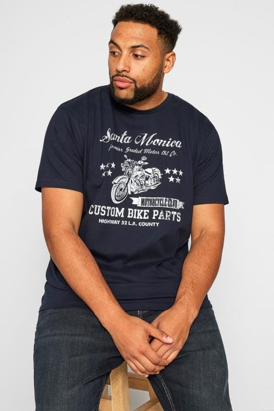 Plus Size T-Shirts BadRhino Navy Santa Monica T-Shirt