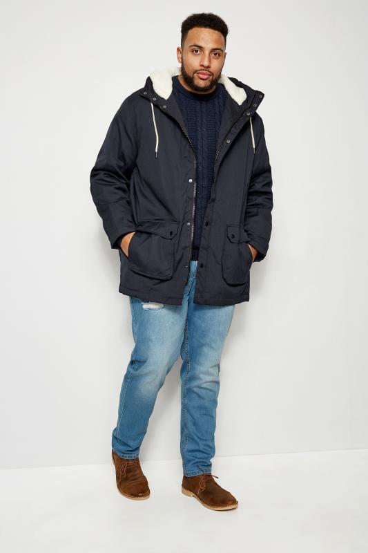 BadRhino Navy Sherpa Parka Jacket