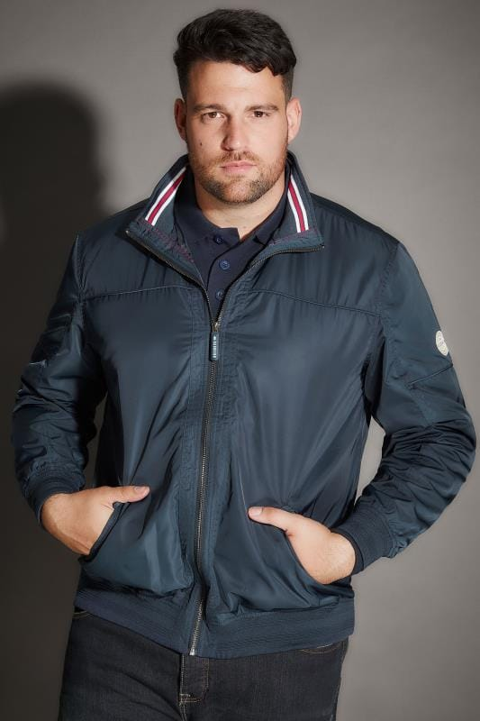 BadRhino Navy Shower Resistant Bomber Jacket With Tipped Collar & Ribbed Trims