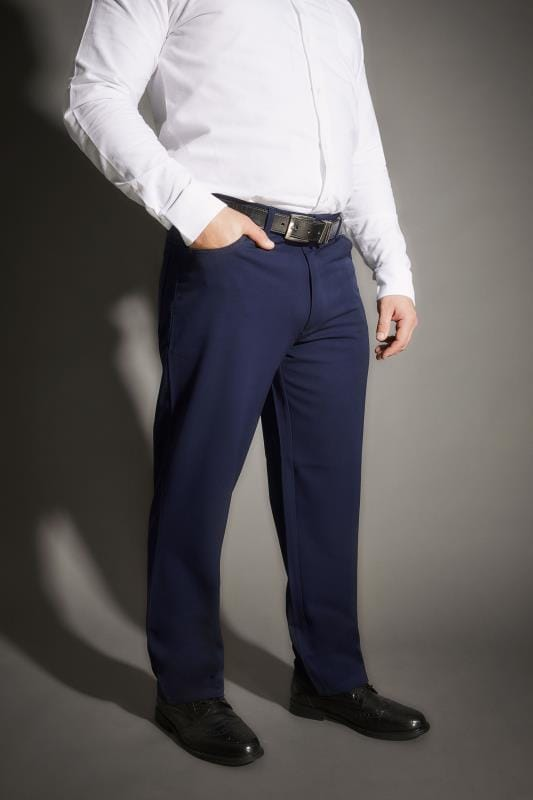 Plus Size Smart Trousers BadRhino Navy Smart Straight Leg Stretch Trousers With 5 Pockets