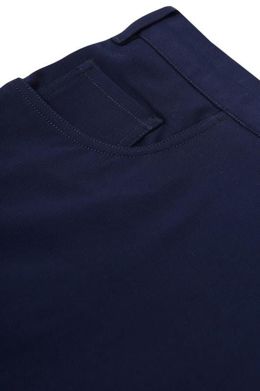 BadRhino Navy Smart Straight Leg Stretch Trousers With 5 Pockets
