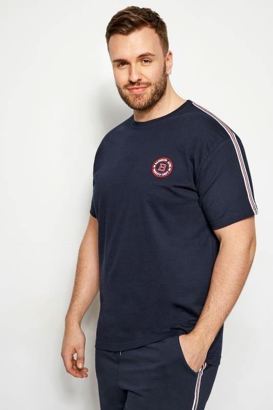 Große Größen T-Shirts BadRhino T-Shirt mit Streifen an den Schultern - Navy