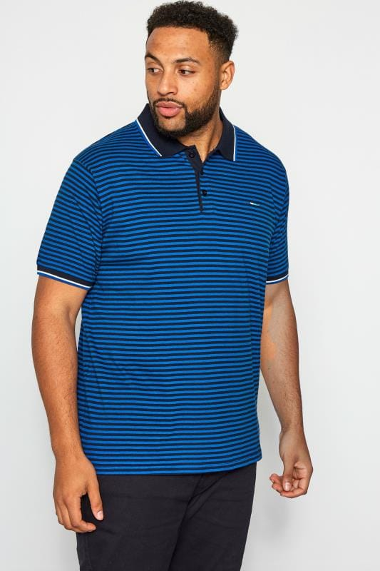 Plus-Größen Polo Shirts BadRhino Navy Stripe Polo
