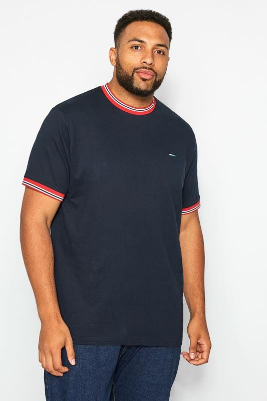 Plus Size T-Shirts BadRhino Navy Striped Ringer T-Shirt
