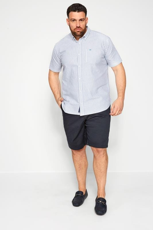 BadRhino Blue Striped Short Sleeved Oxford Shirt_2f49.jpg