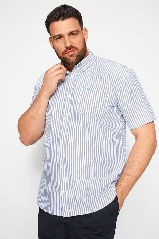 Casual Shirts Tallas Grandes BadRhino Blue Striped Short Sleeved Oxford Shirt