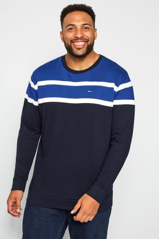 Plus Size Sweatshirts BadRhino Navy Striped Sweatshirt