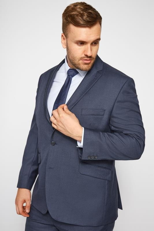 Suit Jackets Grande Taille BadRhino Navy Sharkskin Suit Jacket