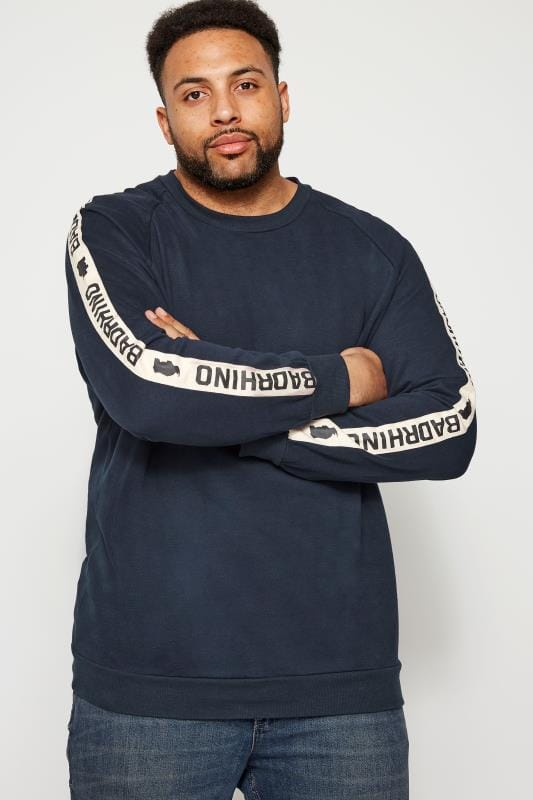 Plus Size Sweatshirts BadRhino Navy Taped Sweatshirt