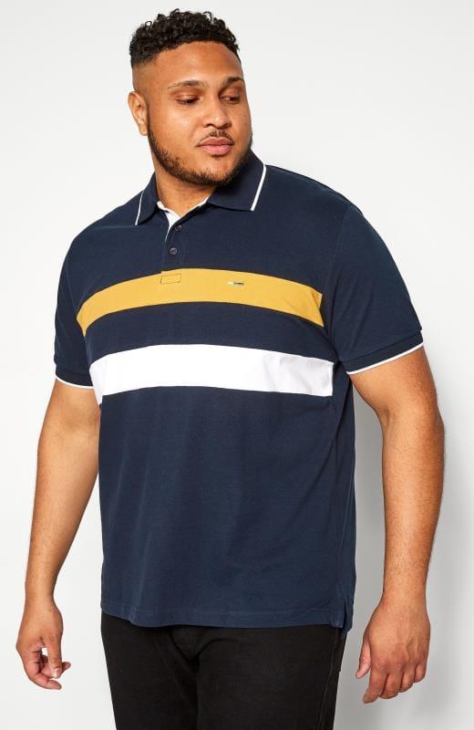 Polo Shirts Grande Taille BadRhino Navy Textured Stripe Polo Shirt