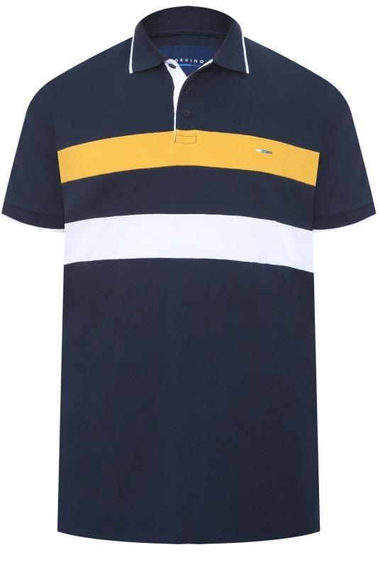 Polo Shirts BadRhino Navy Textured Stripe Polo Shirt 202103