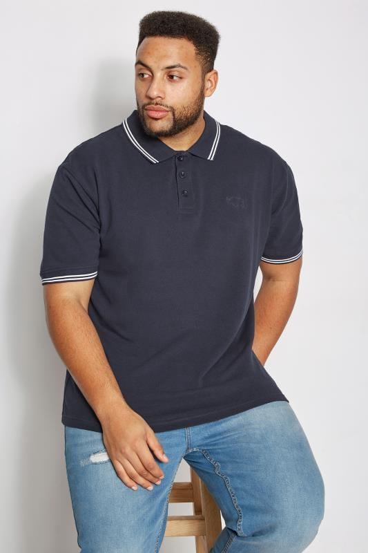 Plus Size Polo Shirts BadRhino Navy Textured Tipped Polo Shirt