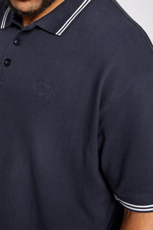 BadRhino Navy Textured Tipped Polo Shirt