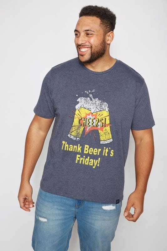 "T-Shirts BadRhino Navy ""Thank Beer It's Friday"" Slogan Print T-Shirt 200636"