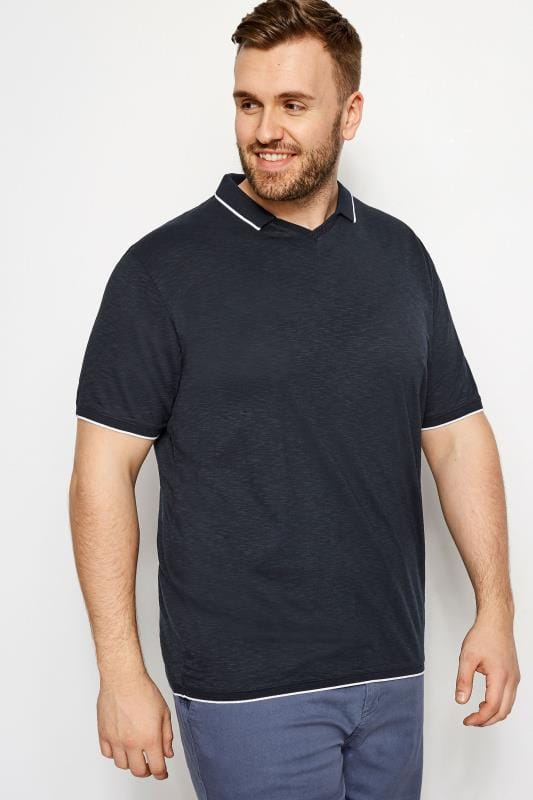 Plus Size Polo Shirts BadRhino Navy Trophy Neck Polo Shirt