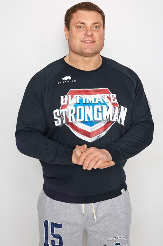Plus Size Sweatshirts BadRhino Navy 'Ultimate Strongman' Sweatshirt