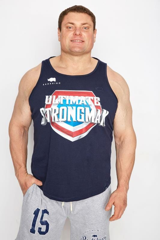 Plus Size Vests BadRhino Navy 'Ultimate Strongman' Vest Top