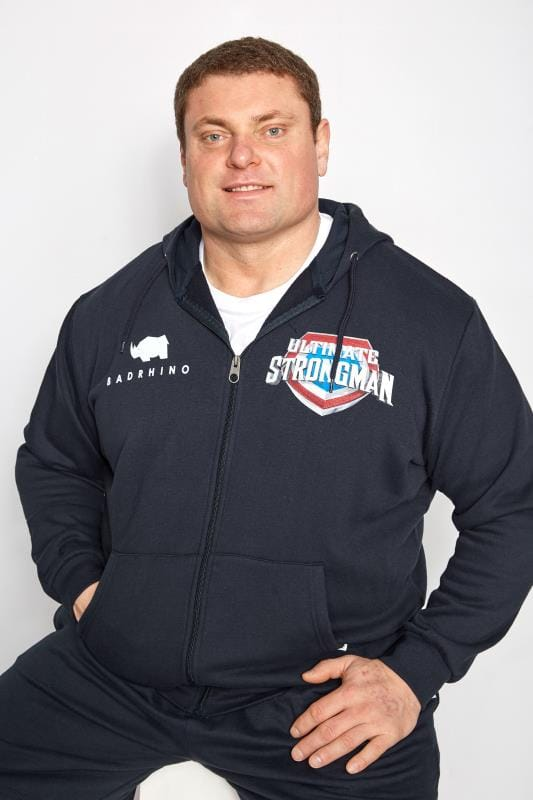 Plus Size Hoodies BadRhino Navy 'Ultimate Strongman' Zip Through Hoodie