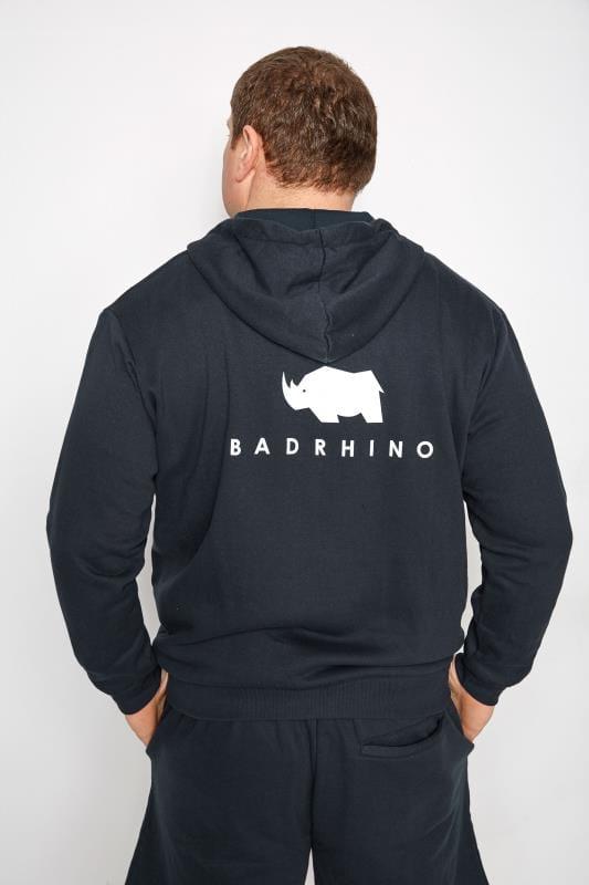 BadRhino Navy 'Ultimate Strongman' Zip Through Hoodie