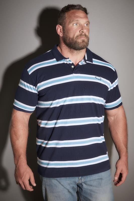 BadRhino Navy & White Triple Stripe Polo Shirt