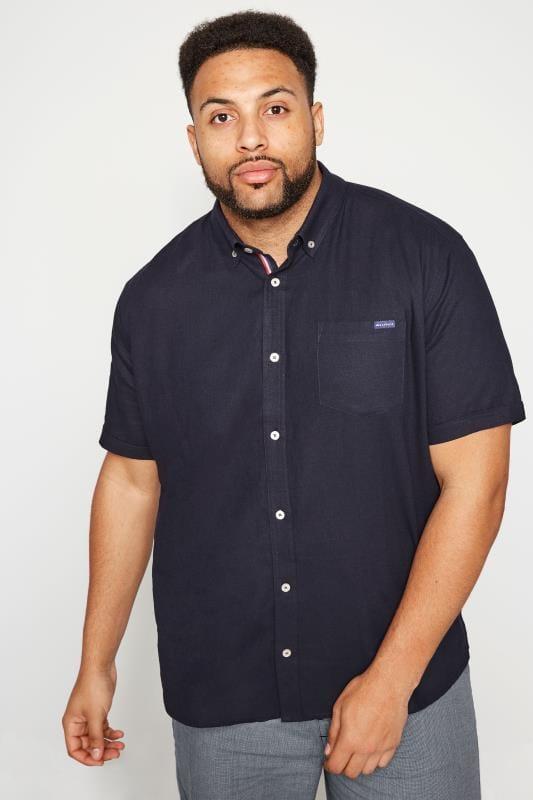 Plus Size Smart Shirts BadRhino Navy Linen Mix Shirt