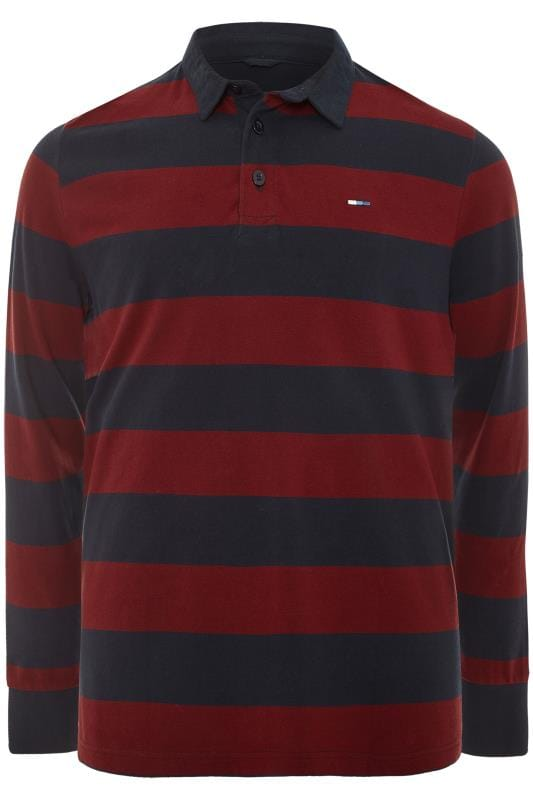 BadRhino Navy and Burgundy Stripe Polo Shirt