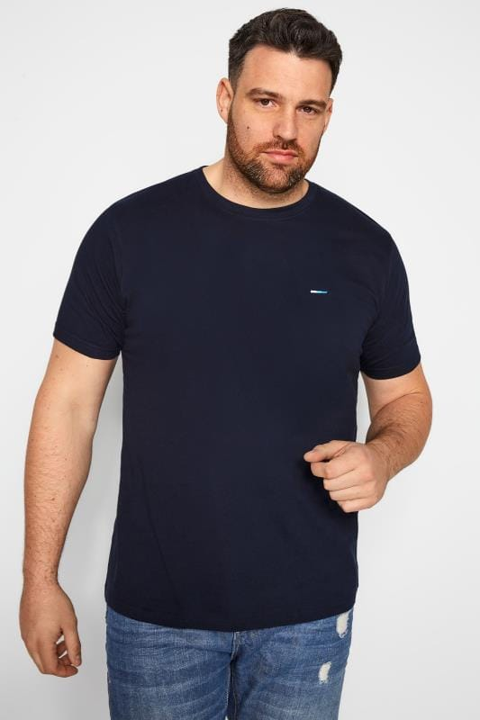 T-Shirts BadRhino Plain Navy Crew Neck T-Shirt