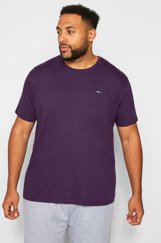 Plus Size T-Shirts BadRhino Purple Crew Neck T-Shirt