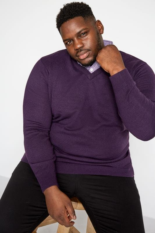 Plus Size Jumpers BadRhino Purple Mock Shirt Jumper