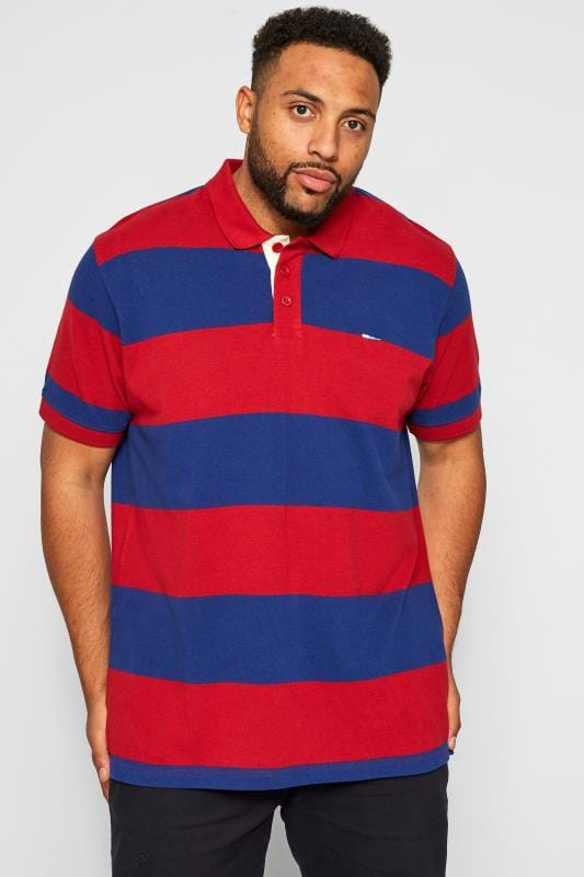Plus Size Polo Shirts BadRhino Red & Blue Striped Polo Shirt